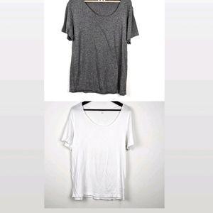 Aritzia community raw hem two t shirts grey & whit